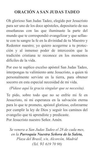 Estampa San Judas Tadeo Saleta - Reverso